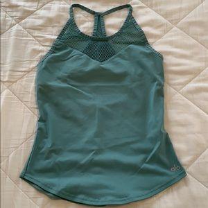 ALO YOGA | dusty teal mesh workout tank